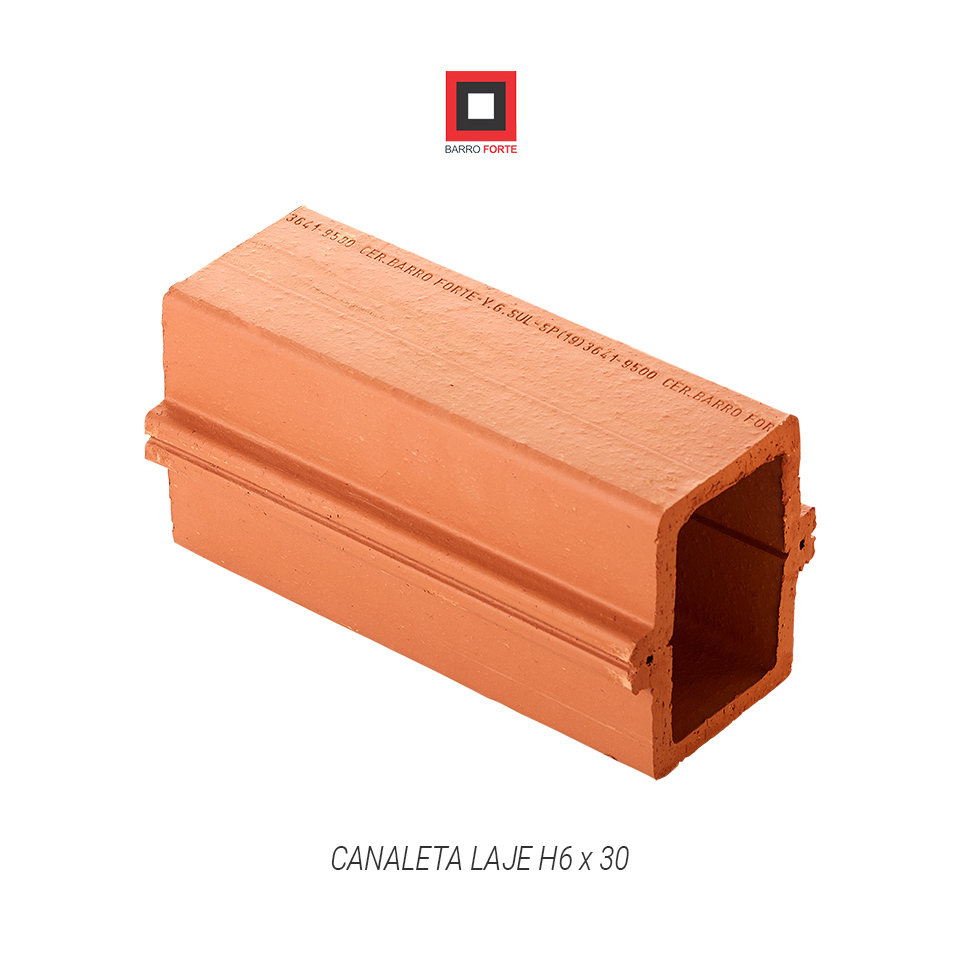 Canaleta Laje H6x30 - Cerâmica Barro Forte