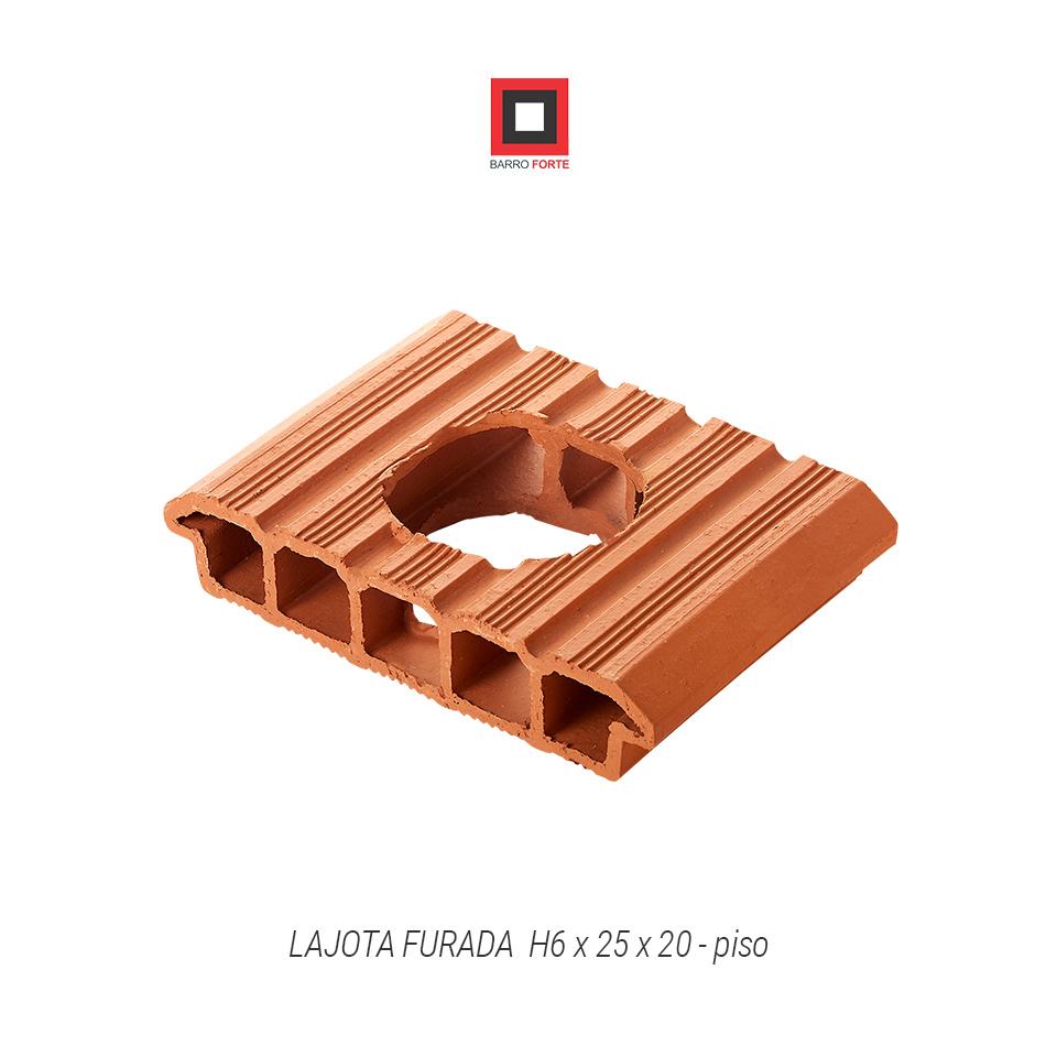 Lajota Furada H6x25x20-piso - Cerâmica Barro Forte