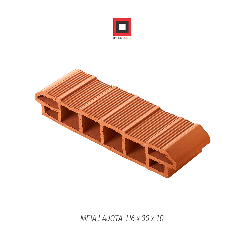Meia Lajota H6x30x10 - Cerâmica Barro Forte