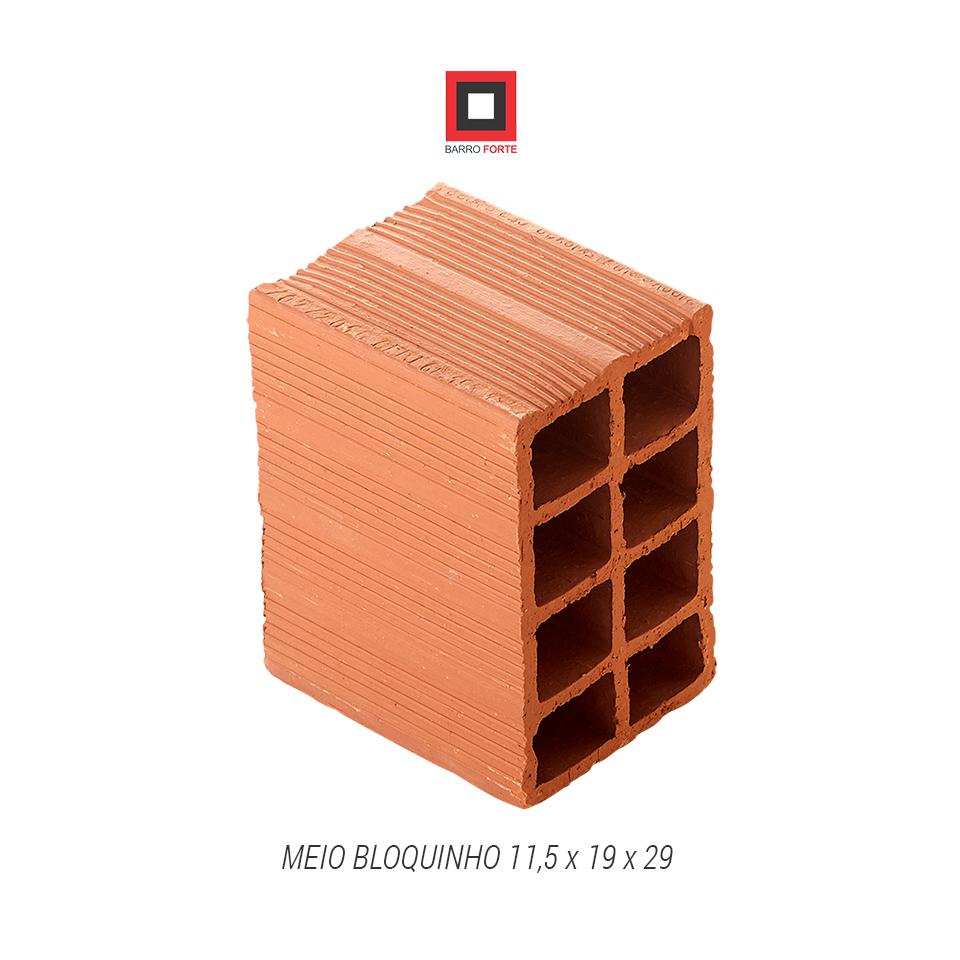 Meio Bloquinho 11,5x19x29 - Cerâmica Barro Forte