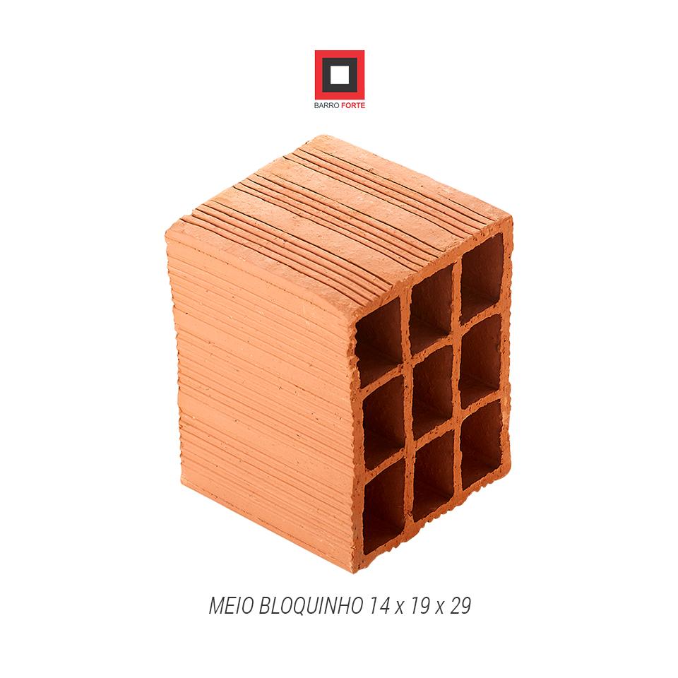 Meio Bloquinho 14x19x29 - Cerâmica Barro Forte